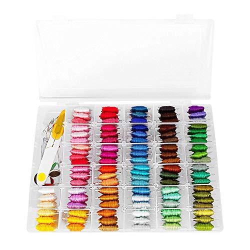 wahrungsbox - 100 Farben Freundschaftsarmbänder mit Stickerei-Aufkleber und Kunststoff-Spulen 43 Stück Kreuzstich-Sets ()