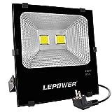 LEPOWER LED Fluter 100W, Außenstrahler Flutlicht 6500K 8000lm superhelle Flut- & Spotbeleuchtung IP66 wasserdichte Außenleuchte mit Stromkabel und Stecker, Arbeitsscheinwerfer, Tageslichtweiß