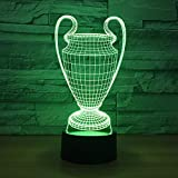 Football Cup Trophy 3D Lamp Illusion Lamp Illusion LampChanging LED Night Light Touch Button USB B