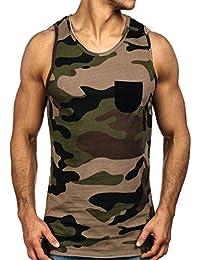 BOLF Herren Tanktop T-Shirt Tee Ärmellos Motiv Classic Army Kurzarm Camo Tank-top Slim Sommer Party Fit Modisch Sleeves 1085