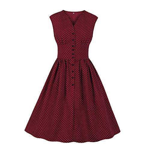 Wellwits Damen Teekleid mit geteiltem Ausschnitt, Blumenknöpfe, 1940er Jahre, Vintage-Stil - Rot - 34/36 Flare Kleid