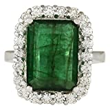Anillo de compromiso de oro blanco de 14 quilates con esmeralda verde...