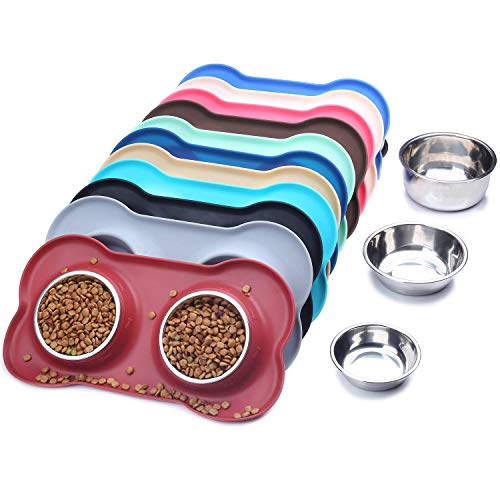eujiancai Dog Bowls Stainless Steel Water and Food Bowl Pet Cat Feeder with Non Spill Skid Resistant Silicone Mat, Small, Burgundy (Small-for Puppy) Burgundy Heat