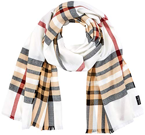 FRAAS Karierter Schal für Damen & Herren XXL - Made in Germany - Moderner Decken-Schal - The Plaid mit Karo-Muster Naturweiß -