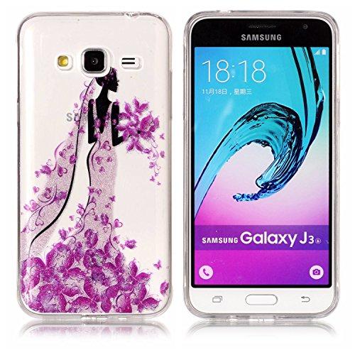 Coque Galaxy J7 2016,Transparent Housse Etui Couverture pour Samsung Galaxy J7 2016,Ekakashop Ultra Mince Slim-fit imprimée Coque de Protection en Hybrid Crystal Clear PC Plastique Silicone Arrière Co Princesse