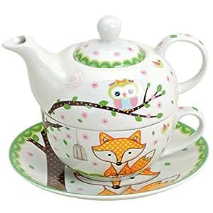 Théière en porcelaine motif renard et tea for one théière avec tasse
