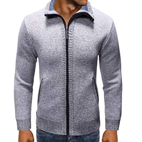 Yvelands Herren Mode Strickpullover Strickpullover Jacke mit Reißverschlusslöchern Pure-Color Hoodie Sweater(Grau1,XXL) -