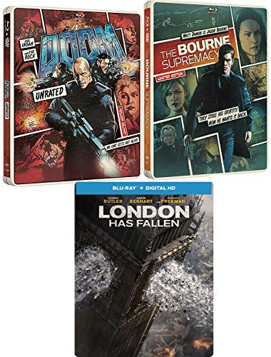 A Non-Stop-Action Special Triple Steelbook Bourne Supremecy Matt Damon + Doom Rock & London Has Fallen Blu Ray 3 Feature electrifying Filn Collectible Pack