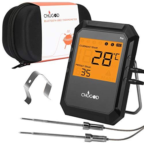 Termometro Barbecue, WEINAS Bluetooth con 2 Sonda Wireless Display Digitale Carne Alimenti Termometro da Cucina, per Forno, Barbecue, Griglia,Vino,Latte,Cibo,Carne, Acqua
