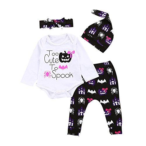 BeautyTop 4Pcs Halloween Kleider Set Neugeborene Baby Mädchen Brief T-Shirt Tops + Hosen + Hut Stirnband Outfits (70/0-6 Monat, Weiß) (Für Halloween-artikel Den Verkauf)