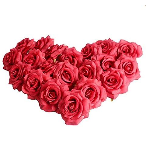 Jarown Lot de 20têtes de haute qualité Fleur artificielle Rose en Soie/Pivoine pour Multicolor Mariage Route Laisse Fleur Hôtel Fond Décoration murale