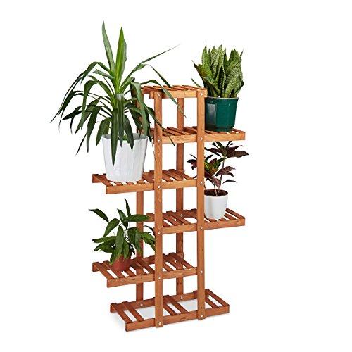 Relaxdays, portavasi multi-ripiano da interno in legno, 5ripiani, a x l x p: 125x 81x 25cm, marrone chiaro