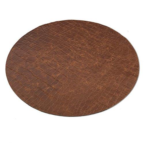 Hill Homme Living en cuir véritable – Set de table – de table – Set de table rond en cuir de vache de grande qualité avec croco pour retourner, fabriqué en Allemagne, Ca. Ø 38 cm, en couleur noir/marron