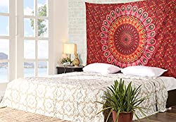 Simple Decor Red Tapestry Cotton Traditional Indian Ethnic Wall Tapestry 90x60 Wall Hangings Floral Printed By Rajrang