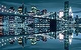 VLIESFOTOTAPETE Fototapete Tapete Wandbild Vlies   Welt-der-Träume  New York Brücke bei Nacht   VEXXL (312cm. x 219cm.)   Photo Wallpaper Mural 3022VEXXL-AW   Stadt New York Wolkenkratzer Gebäude Nacht