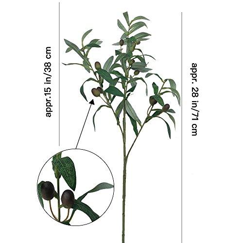 Aisamco 2 Stück Künstlicher Olivenzweig Dekorative Kunst Blume Plastikblumen Home Garten Hochzeit Party Dekor