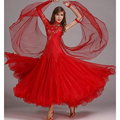 QMKJ Frauen Latin Dance Kostüme Bauchtanz Rock rot handgemachte Pailletten Ballroom Dancing Kostüme Full Rock Hemden Moderne Mode 2018 XL 2XL,L