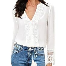 Fancyinn Mujeres Blanco Manga Larga V-Cuello Gasa Casual Oficina T-Shirt  Blusa Tops 49735b8f445