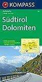 Südtirol, Dolomiten: Autokarte 1:150000 mit Ortsverzeichnis. (KOMPASS-Autokarten, Band 331)