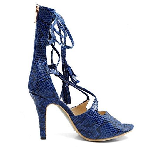 TAOFFEN Femmes Peep Toe Sandales Mode Aiguille Fermeture Eclair Chaussures De Lacets Bleu