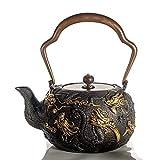 Q-HL Teiere ghisa giapponesi Tetsubin Teiera in ghisa, bollitore da tè in stile giapponese Tetsubin 1.3L |Calda teiera in ghisa per mantenere il tè caldo |Gilding Nine dragons pattern Bollitore di ghi