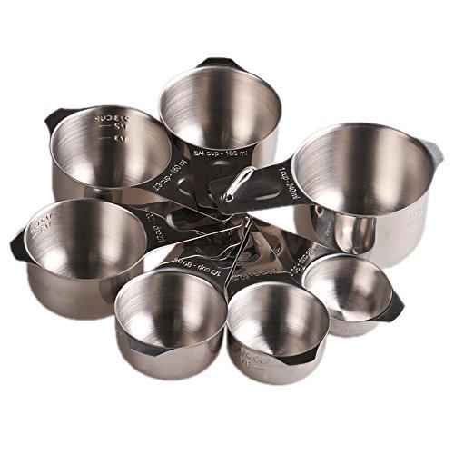 Premium 18/8(304) Edelstahl Messbecher und Löffel Set für Kochen und Backen Werkzeug oder Utensilien Set of 7pcs (Löffel Eingraviert)