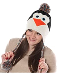 Ladies/Girls Novelty Animal Knitted Peruvian Peru Thermal Ski Hats penguin