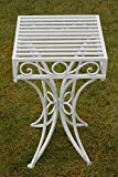 Olive Grove Versailles Metal Garden side Table or Plant Stand in Sage Green Finish