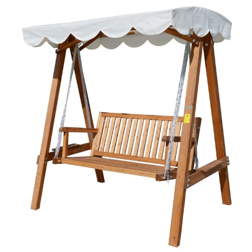 Outsunny 2 Seater Wooden Wood Garden Swing Chair Seat Hammock Bench Furniture Lounger Bed Wood New(Cream)