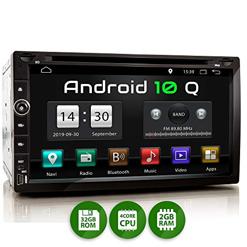 XOMAX XM-2DA758 Autoradio mit Android 10, QuadCore, 2GB RAM, 32GB ROM, GPS Navigation I Support: WiFi WLAN, 3G 4G, DAB+, OBD2 I Bluetooth, 6,9 Zoll / 17,5 cm Touchscreen, DVD/CD, USB, SD, 2 DIN