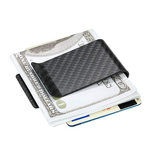 Godyluck Schwarz Kohlefaser Geldbörse Geldscheinklammer Kreditkarte Visitenkartenhalter für Männer