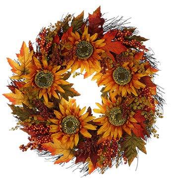 Napco Imports Künstlicher Kranz mit Sonnenblumen und Erntebeeren, 61 cm
