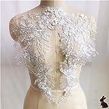 Spitzenapplikation zum Aufnähen mit Perlen, für Hochzeiten, cremefarben, 1 Paar