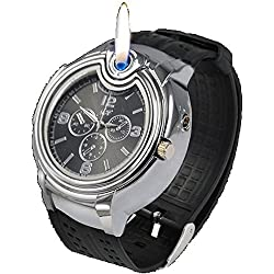 UK A2Z ® Men's Military Style Novelty Wrist Watch Cigarette Flame Lighter with Black dial face. Refillable with Butane Gas.