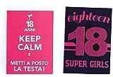Takestop® Juego 2Piezas tarjetas tarjeta felicitación cumpleaños 18años Fucsia con sobre Keep Calm Cabeza orificio Super Girl Fantasie aleatorio