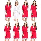 Señor & Mrs Right® Set de 8de Boda para Las Mujeres Algodón Túnica para Novia y de Dama con Ribete de Encaje Blanco Rojo Rosso M