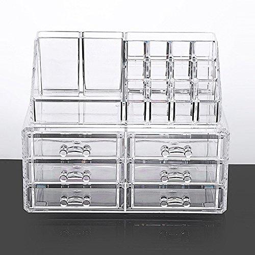 Rangements de bureau cosmétique box grande boîte en plastique avec finition transparente tiroir multicouche