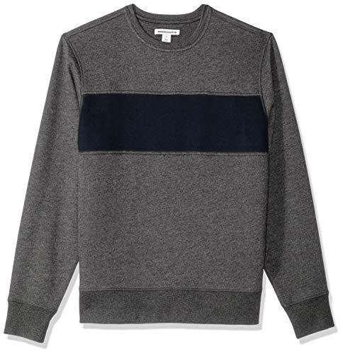 Amazon Essentials Crewneck Fleece Chest Stripe Sweatshirt, Charcoal Heather/Navy, US L (EU L) Crewneck Fleece Pullover Sweatshirts