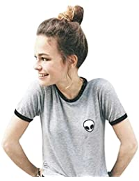 LANDFOX 3d Print Aliens culo top manga corta camiseta mujeres Tops