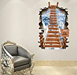 Cretive Removable 3D Broken Wall Aerial Ladder Wall Stickers Decor for Living Room Background