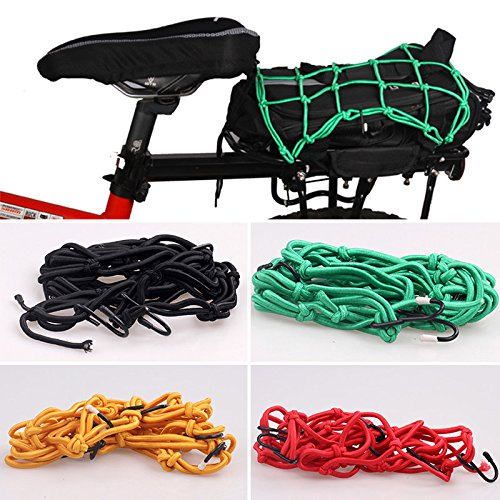 forfar 1Pcs 30X30cm Bike Net 6 Hooks Rear Rack Luggage Hollow Holder Cargo Car Motorcycle For MTB BMX Bicycle Cycling Gift Random Color
