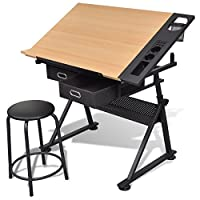 vidaXL Tiltable Tabletop Drawing Table with Stool Home Office Durable with Two Drawers