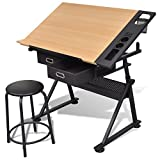 Best Drafting Tables - Two Drawers Tiltable Tabletop Drawing Table with Stool Review