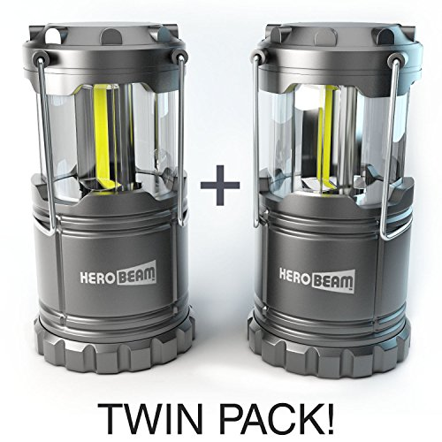 2 x HeroBeam® LED Lantern - 2017 Technology emits 300 LUMENS! - Collapsible Tough Lamp with Magnetic Base - Great Light for Camping, Fishing, Shed, Festivals - (TWIN PACK)