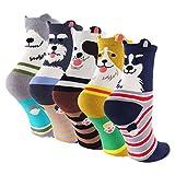 Calze da donna cute Dog Cotton Crew novità antiscivolo calzini 5-pack style1 24cm~28cm