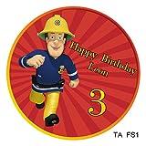 1 Tortenaufleger Feuerwehrmann Sam rund 20cm Durchmesser mit Ihren Fotos