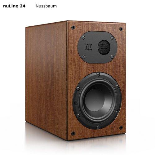 Nubert nuLine 24 Regal-/Dipol-Lautsprecher 2-Wege (12cm Tieftöner,2x 1.9cm Hochtöner,120/170 Watt,55-27000Hz) Stück, Holzfurnier Nussbaum