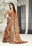 Ankit Fashions Printed Silk Georgette Sari in Brown