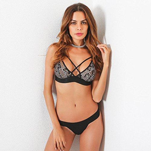 Reggiseno donna ,FeiXIANG 2017 Sexy donne floreali pizzo bralette Bustino top sheer triangolo reggiseno camicia gilet Nero