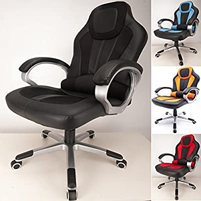 RayGar 2017 Deluxe Padded Sports Racing Chair Gaming Executive Swivel Computer Desk Recliner Office Chair - New produced by RayGar - quick delivery from UK.